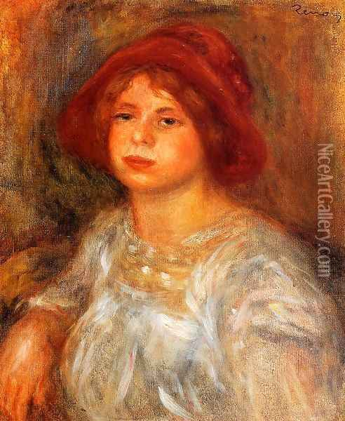 Young Girl Wearing A Red Hat Oil Painting - Pierre Auguste Renoir