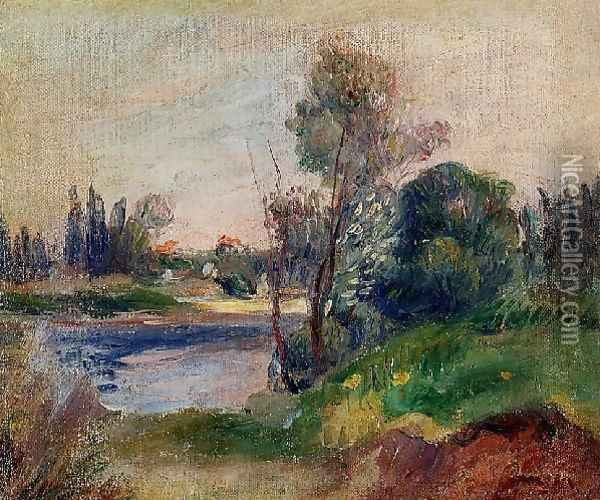 Banks Of The River Oil Painting - Pierre Auguste Renoir