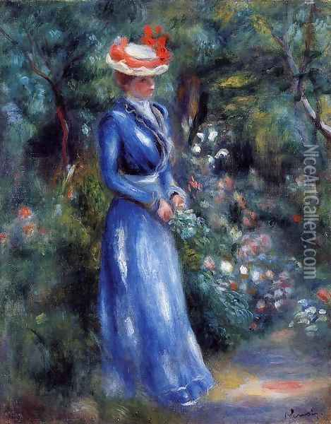 Woman In A Blue Dress Standing In The Garden Of Saint Cloud Oil Painting - Pierre Auguste Renoir