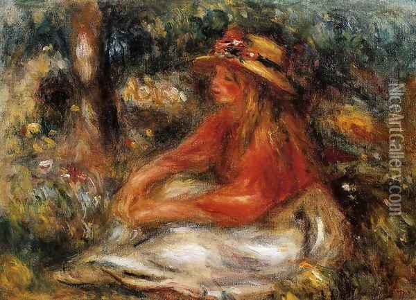 Young Woman Seated On The Grass Oil Painting - Pierre Auguste Renoir