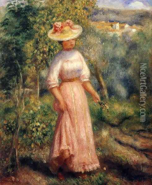 Young Woman In Red In The Fields Oil Painting - Pierre Auguste Renoir
