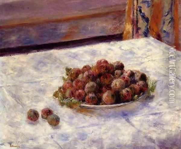 Still Life A Plate Of Plums Oil Painting - Pierre Auguste Renoir