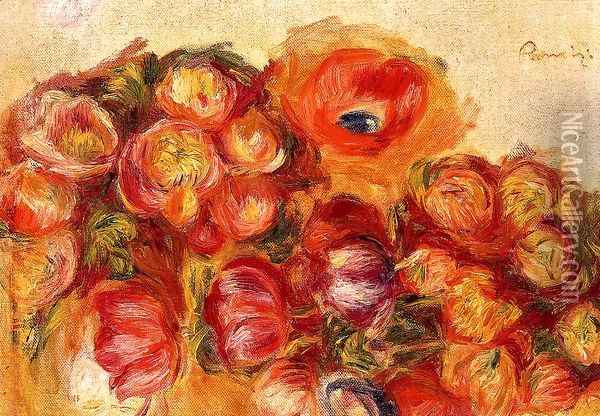 Study Of Flowers Anemones And Tulips Oil Painting - Pierre Auguste Renoir
