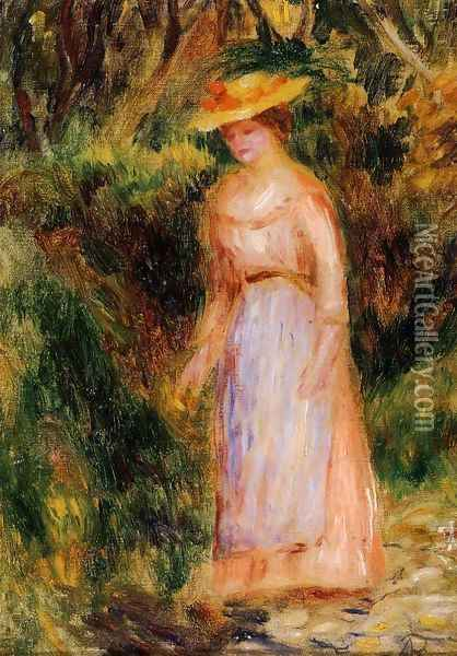 Young Woman Taking A Walk Oil Painting - Pierre Auguste Renoir
