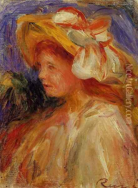 Profile Of A Young Woman In A Hat Oil Painting - Pierre Auguste Renoir
