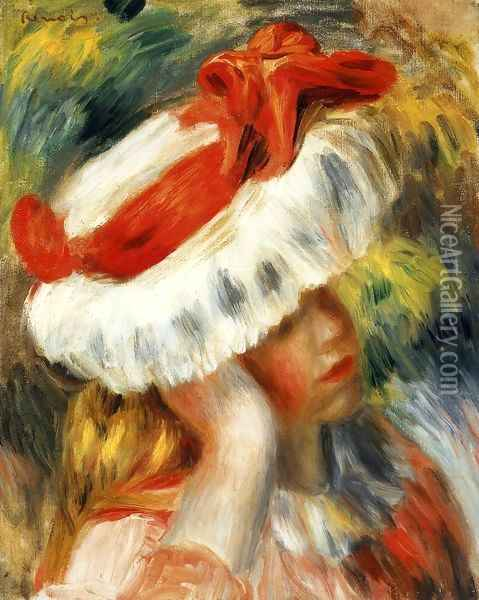 Young Girl With A Hat Oil Painting - Pierre Auguste Renoir