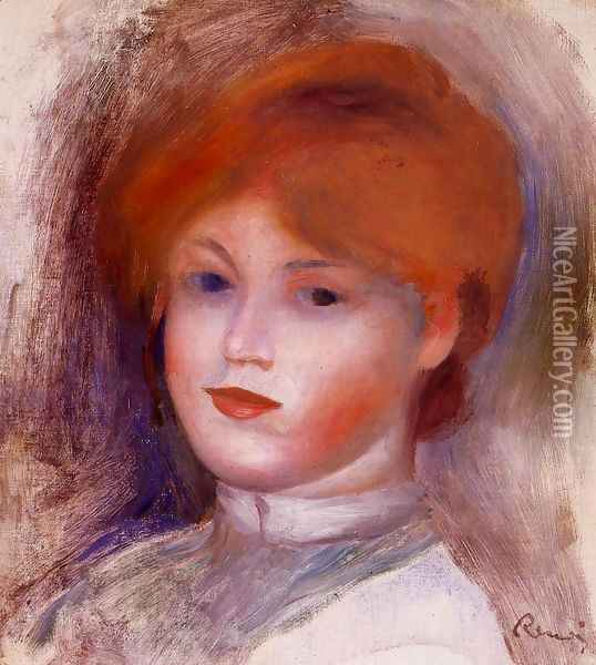 Head Of A Young Woman2 Oil Painting - Pierre Auguste Renoir