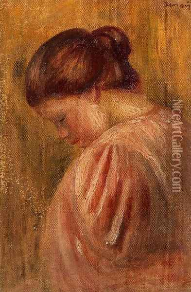 Portrait Of A Girl In Red Oil Painting - Pierre Auguste Renoir