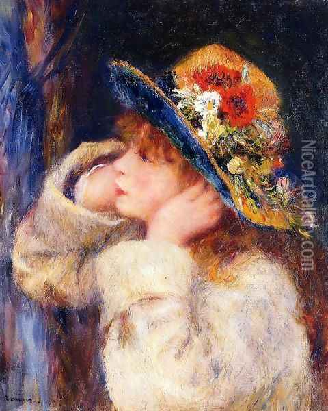 Young Girl In A Hat Decorated With Wildflowers Oil Painting - Pierre Auguste Renoir