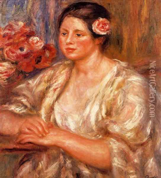 Madelaine In A White Blouse And A Bouquet Of Flowers Oil Painting - Pierre Auguste Renoir