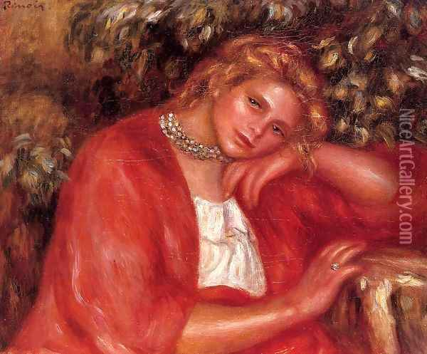 Pensive Young Woman Leaning On Her Elbow Oil Painting - Pierre Auguste Renoir