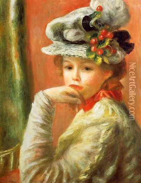 Young Girl In A White Hat Aka Woman Leaning On Her Hand Oil Painting - Pierre Auguste Renoir