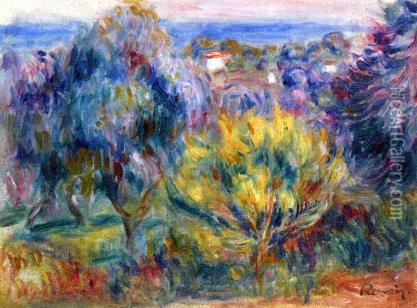 Landscape with a View of the Sea Oil Painting - Pierre Auguste Renoir