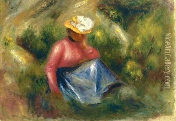Seated Young Girl With Hat Oil Painting - Pierre Auguste Renoir