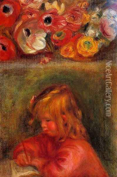 Portrait Of Coco And Flowers Oil Painting - Pierre Auguste Renoir