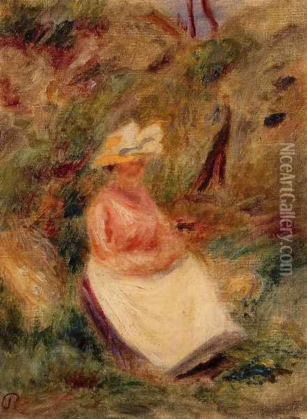 Young Girl In The Woods Oil Painting - Pierre Auguste Renoir