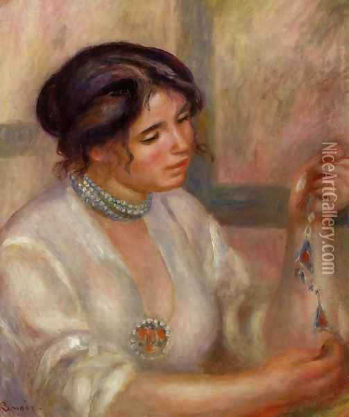 Woman With A Necklace Oil Painting - Pierre Auguste Renoir
