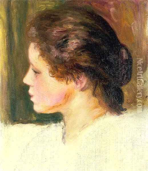 Womans Head9 Oil Painting - Pierre Auguste Renoir