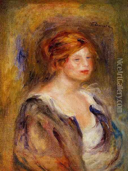 Young Girl In Blue Aka Head Of A Blond Woman Oil Painting - Pierre Auguste Renoir