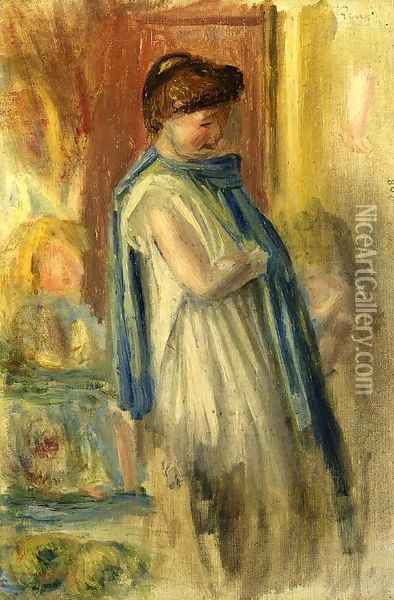 Young Woman Standing Oil Painting - Pierre Auguste Renoir