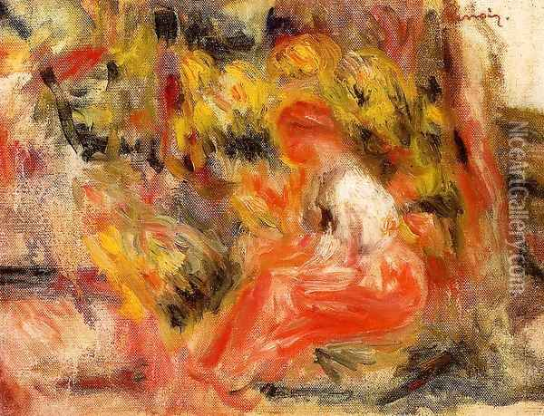 Young Girl Seated In A Garden Oil Painting - Pierre Auguste Renoir