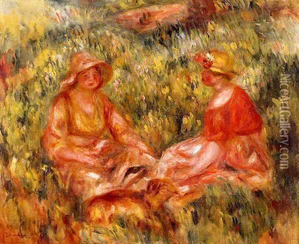 Two Women In The Grass Oil Painting - Pierre Auguste Renoir
