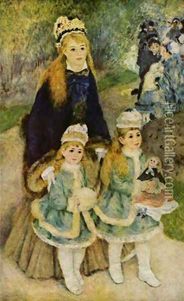Madame Georges Charpentier and Her Children at park Oil Painting - Pierre Auguste Renoir