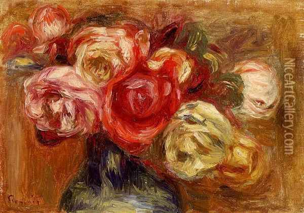 Vase of Roses Oil Painting - Pierre Auguste Renoir