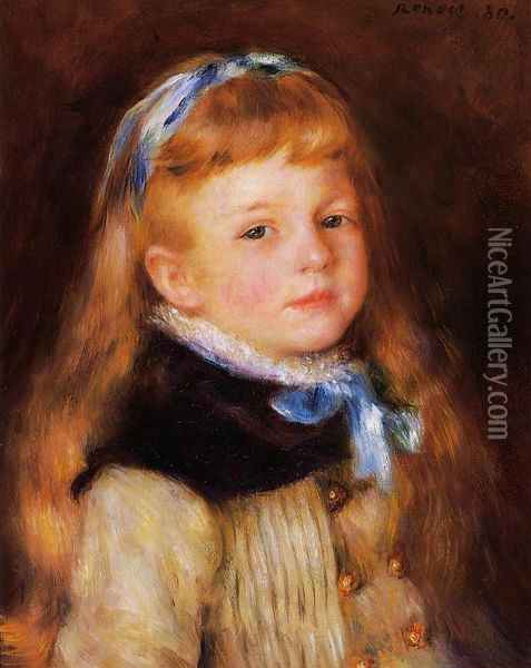 Mademoiselle Grimprel in a Blue Ribbon Oil Painting - Pierre Auguste Renoir
