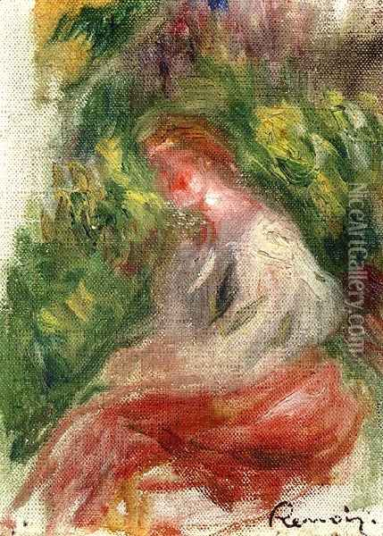 Young Woman, Seated Oil Painting - Pierre Auguste Renoir