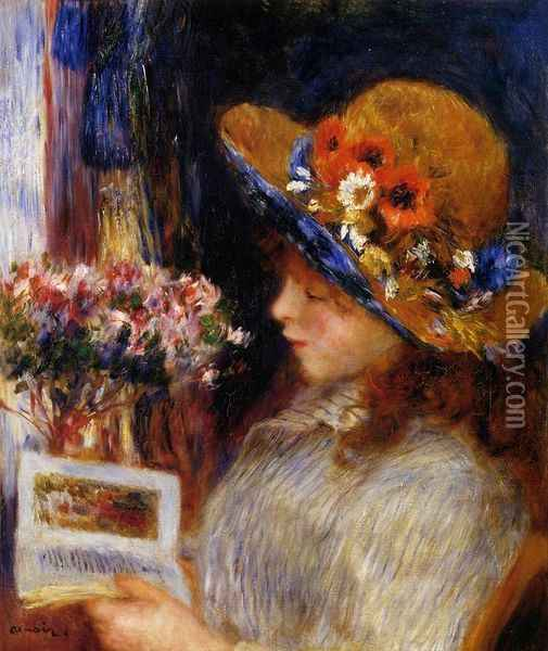 Young Girl Reading 2 Oil Painting - Pierre Auguste Renoir