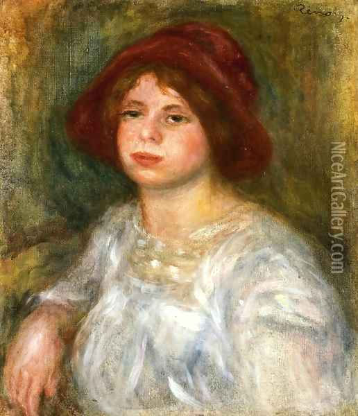 Girl in a Red Hat Oil Painting - Pierre Auguste Renoir