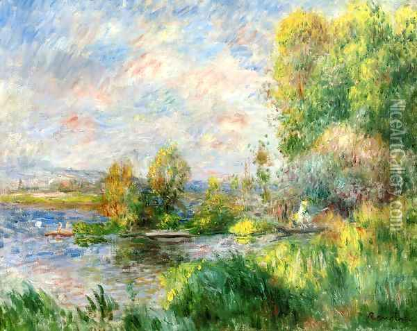 The Seine at Bougival Oil Painting - Pierre Auguste Renoir