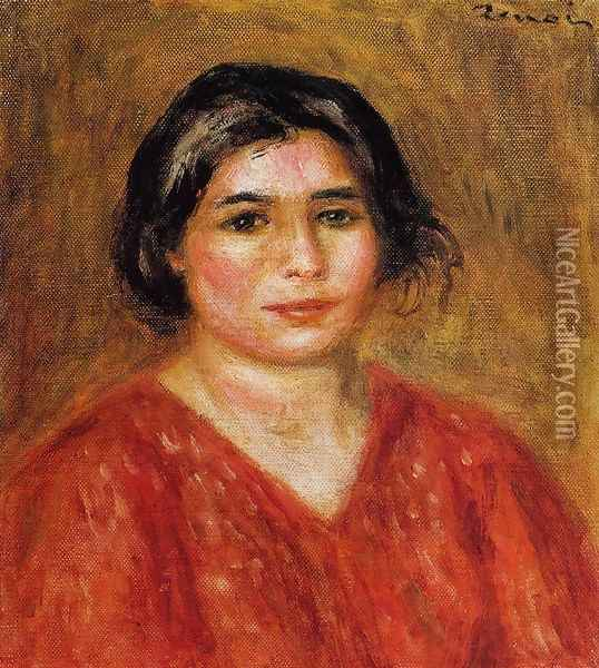 Gabrielle In A Red Blouse Oil Painting - Pierre Auguste Renoir