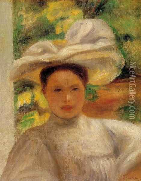 Young Woman In A Hat Oil Painting - Pierre Auguste Renoir