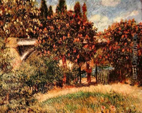 Railway bridge at Chatou (The pink chestnut trees) Oil Painting - Pierre Auguste Renoir