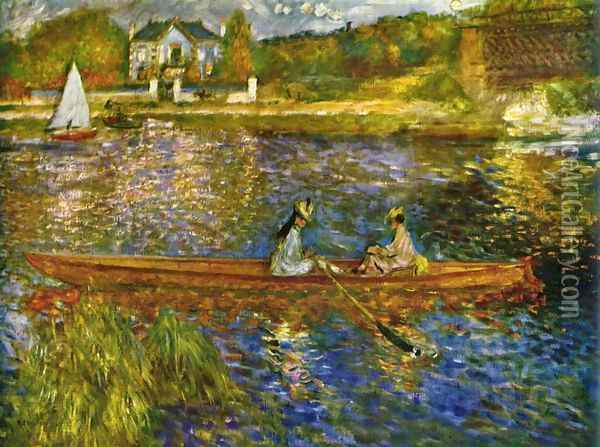 River with boats at Asnères Oil Painting - Pierre Auguste Renoir