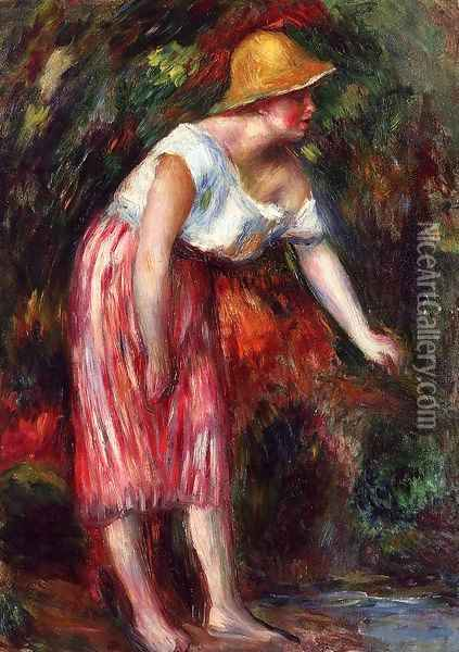 Woman In A Straw Hat Oil Painting - Pierre Auguste Renoir