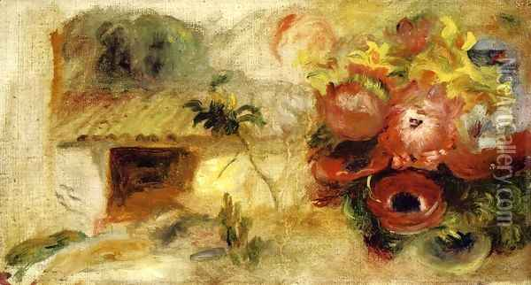 Small House, Buttercups and Diverse Flowers (study) Oil Painting - Pierre Auguste Renoir