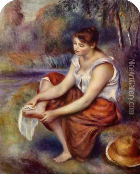 Girl, at the feet of drying Oil Painting - Pierre Auguste Renoir