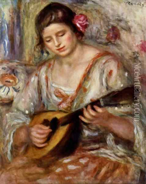 Girl with a Mandolin Oil Painting - Pierre Auguste Renoir