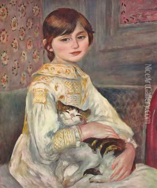 Portrait of Mademoiselle Julie Manet with a cat Oil Painting - Pierre Auguste Renoir