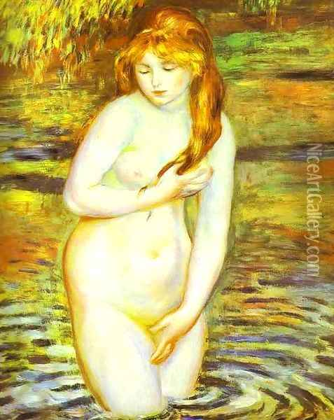 The Bather (After the Bath) Oil Painting - Pierre Auguste Renoir