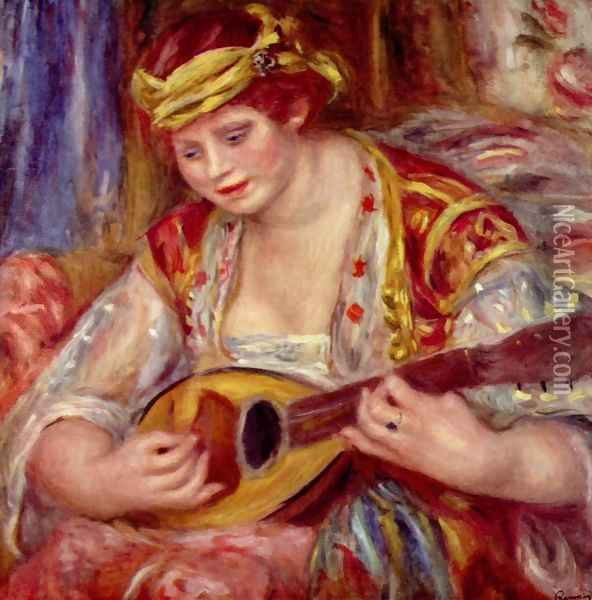 Woman with a mandolin Oil Painting - Pierre Auguste Renoir