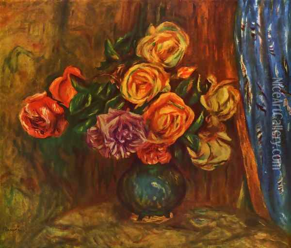 Still life, roses before blue curtain Oil Painting - Pierre Auguste Renoir