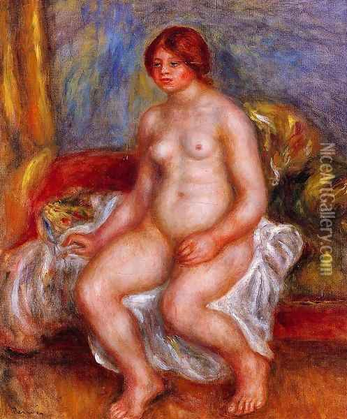 Nude Woman on Green Cushions Oil Painting - Pierre Auguste Renoir
