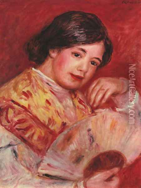 Young girl with a fan Oil Painting - Pierre Auguste Renoir