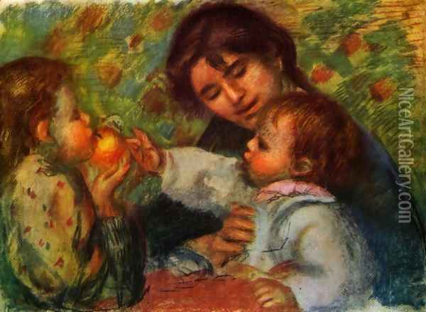 Portrait of Jean Renoir and Gabrielle with their child Oil Painting - Pierre Auguste Renoir