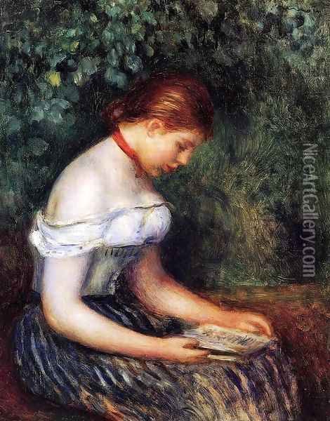 The Reader (Seated Young Woman) Oil Painting - Pierre Auguste Renoir