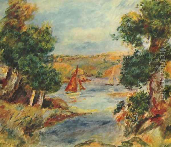Sailing boats at Cagnes Oil Painting - Pierre Auguste Renoir